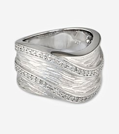 Effy® Sterling Silver 0.26 ct. t.w. Diamond Swirl Ring