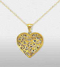 Heart Pendant in Sterling Silver and 14K Gold