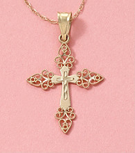 14K Yellow Gold Filigree Cross Pendant