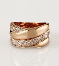 Effy® 14K Pink Gold Overlap .77 ct. t.w. Diamond Pave Ring - Size 7