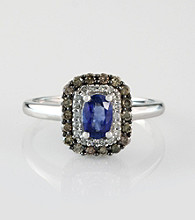 Effy® 14K White Gold Diamond and Sapphire Ring