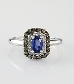 Effy® 14K White Gold .57 Ct. T.W. Diamond and Sapphire Ring