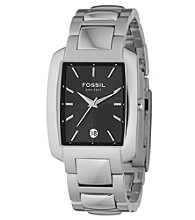 Fossil® Men's Analog Black Square Dial Watch