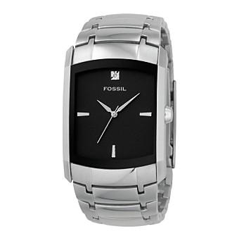 Fossil® Men's Analog Black Dial Diamond Watch