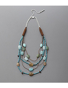 Kenneth Cole New York Turquoise and Brown Leather Beaded Necklace                 	   	   			 - Younkers from younkers.com