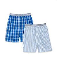 Calvin Klein Boys' 4-18 Blue Striped 2-pk. CK Logo Waistband Boxers