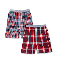 Calvin Klein Boys' 4-18 Red Plaid 2-pk. CK Logo Waistband Boxers