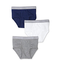 Calvin Klein Boys' 4-18 White/Blue/Grey 3-pk. CK Logo Waistband Briefs