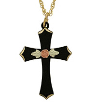 Black Hills Gold Powder-Coated Cross Pendant
