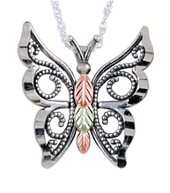 Black Hills Gold on Sterling Oxidized Butterfly Pendant