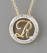 18K Yellow Gold Over Sterling Silver Diamond Accent Letter