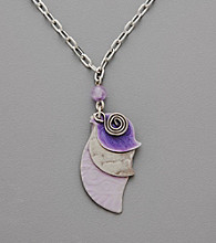 Silver Forest® Layered Pendant in Silvertone and Purple