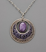 Silver Forest® Silver Circles Pendant with Purple and Amethyst Stones