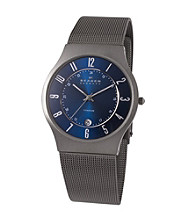 Skagen Denmark Men's Titanium Gray Watch with Blue Dial