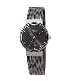 Skagen Denmark Charcoal Plated Striped Mesh Watch