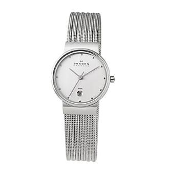 Skagen Denmark Silver Striped Mesh Watch