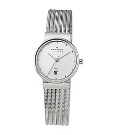 Skagen Denmark Silver Striped Mesh Watch