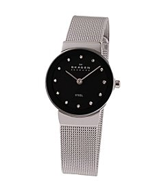 Skagen Denmark Silver Mesh Watch with Black Dial