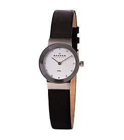 Skagen Denmark Black Leather Strap Watch