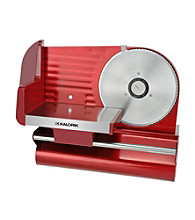 Kalorik Food Slicer with Tray Carriage and Holder - Stainless Steel and Metallic Red