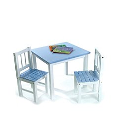Lipper International 3-pc. Children's Table & 2 Chairs Set - Blue & White