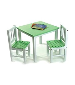 Lipper International 3-pc. Children's Table & 2 Chairs Set - Green & White