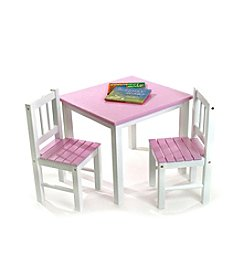 Lipper International 3-pc. Children's Table & 2 Chairs Set - Pink & White