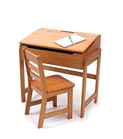 Lipper International 2-pc. Children's Slanted Desk & Chair Set - Pecan