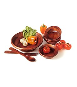 Lipper International 7-pc. Salad Set - Dark Cherry Finish