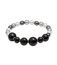 .925 Sterling Silver 6-7mm Multi Freshwater Pearl & Onyx Stretch Bracelet