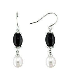 .925 Sterling Silver 8-9mm Freshwater Pearl & Onyx Earrings - White