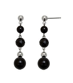 .925 Sterling Silver Onyx Earrings - Black