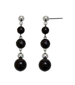 .925 Sterling Silver Onyx Earrings - Black