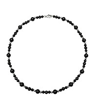 .925 Sterling Silver Onyx Necklace - Black