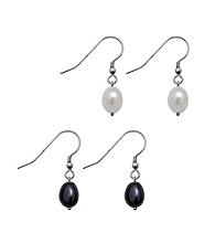 .925 Sterling Silver Freshwater Pearl Earring Set - White/Black