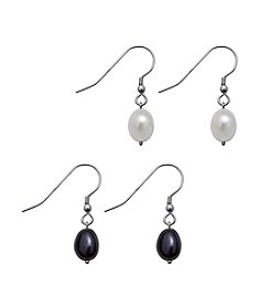 .925 Sterling Silver Freshwater Pearl Earring Set - White/Black