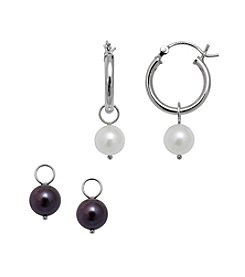 .925 Sterling Silver Freshwater Earring Set - White/Black