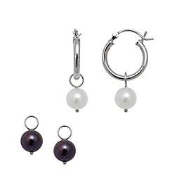 .925 Sterling Silver Freshwater Earring Set - White/Black