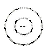 .925 Sterling Silver Pearl & Onyx Necklace/Earrings/Bracelet Set - White/Black