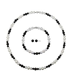 .925 Sterling Silver Pearl & Onyx Necklace/Earrings/Bracelet Set - White/Black