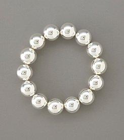 Lauren Ralph Lauren Silvertone 14MM Bead Stretch Bracelet