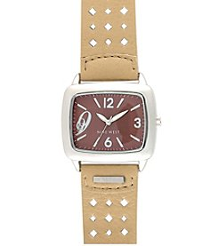Nine West® Perforated Strap Watch - Cream