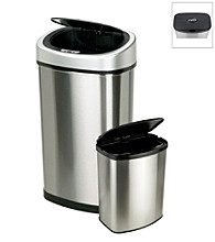 Nine Stars Infrared Touchless Automatic 13.2-Gallon and 2.1-Gallon Trash Can Set