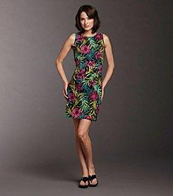 AGB® Floral-print Sheath Dress - Purple/Blue/Green