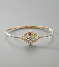 18K Gold-Over-Sterling Silver Gem Flower & Diamond Accent Bracelet
