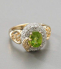 18K Gold-Over-Sterling Silver Peridot & Diamond Accent Ring