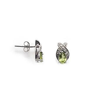 Sterling Silver 1.0 ct. t.w. Peridot & Diamond Accent Earrings