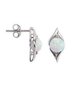 Sterling Silver Opal & Diamond Accent Earrings