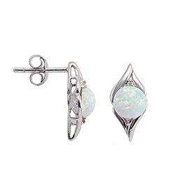 Sterling Silver Opal & Diamond Accent Earrings