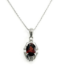 Sterling Silver 1.5 ct. t.w. Garnet & Diamond Accent Pendant